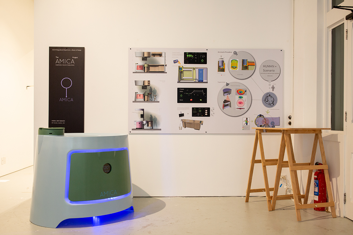 Installation view, sign on wall display and designed oven