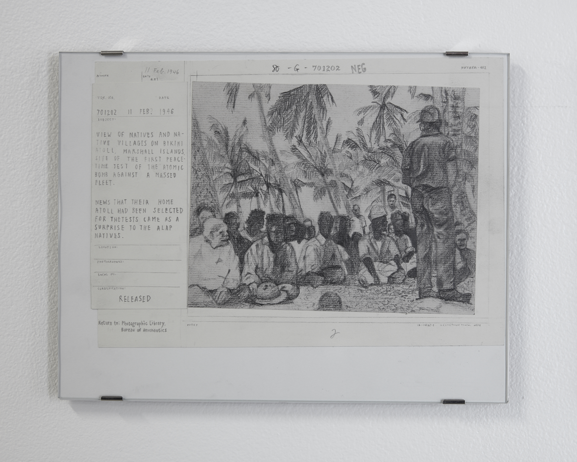 Drawings of archival records, soldier, group of people sitting below tree