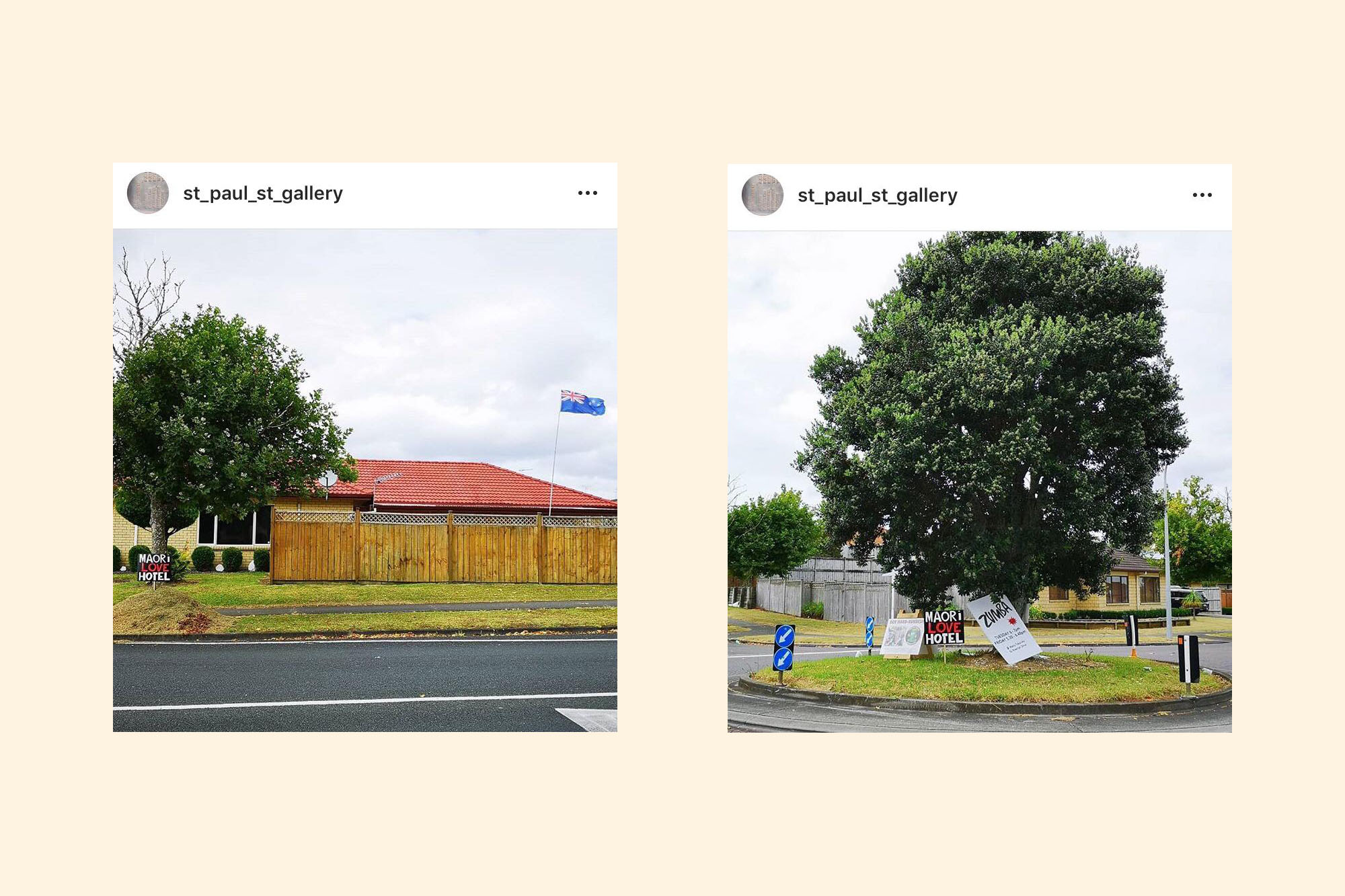 two images side by side, house, flag, tree, roadside, Maori Love Hotel