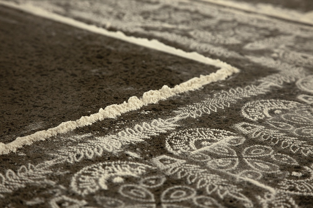 Patterns made of flour on floor