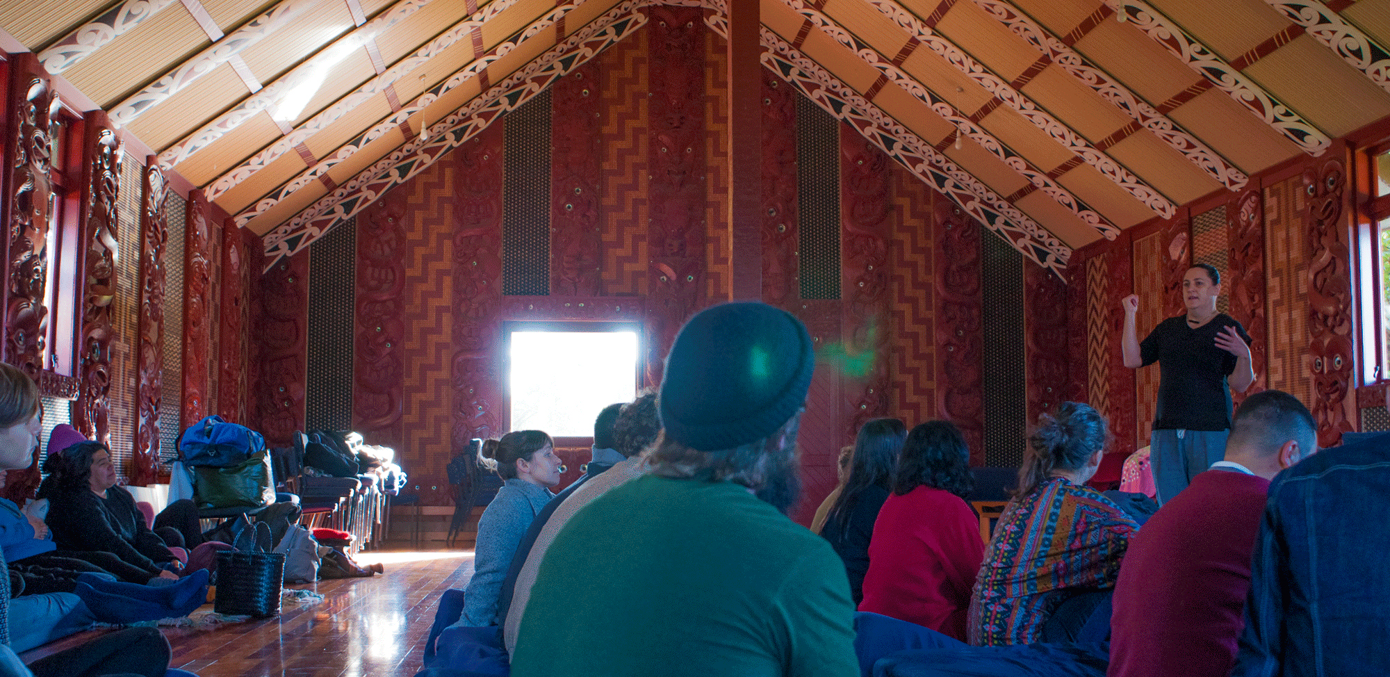 2016 Symposium, Desna Whaanga-Schollum at Hoani Waititi Marae. Photo Ziggy Lever